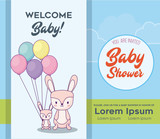 Baby shower invitation template with cute rabbits with colorful ballons over blue background, vector illustration
