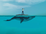 Man  above a huge whale in the ocean. - 207478349