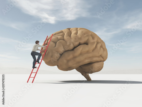 The man climbs a ladder supported by a brain.