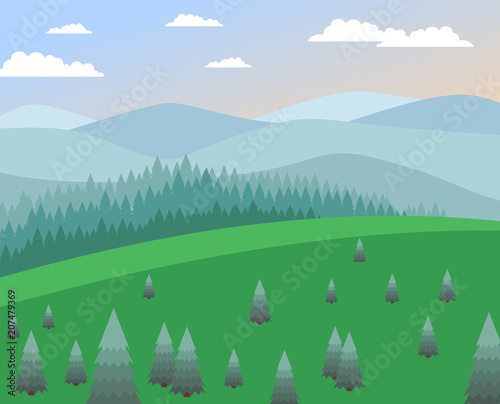 Fotobehang Boerderij landscape with green meadow, fir trees, coniferous forest, mountains, against the sky with light clouds