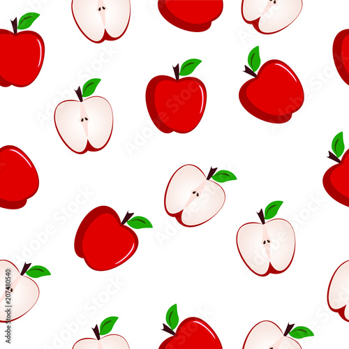 Red apples seamless pattern illustration vector - 207480540