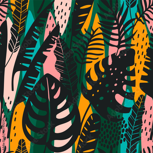 Fototapeta Abstract seamless pattern with tropical leaves. Hand draw texture.