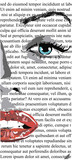 Half Face of girl with red lips on white newspaper like mere lin monroe. clip art of a beautiful woman with red lips like mere-lin monroe.