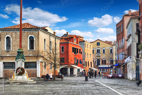 People walking on old Campo Santa Margherita square in Venice, Italy. Venice landmark