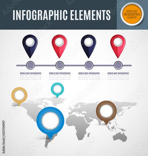 Aluminium Wereldkaarten Infographic element set2