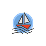Sailboat in the sea filled outline icon, line vector sign, linear colorful pictogram isolated on white. Travel yacht on waves symbol, logo illustration. Pixel perfect vector graphics - 207508968