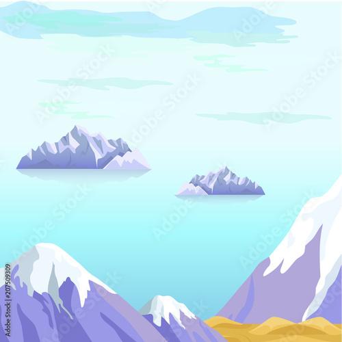 Aluminium Lichtblauw Beautiful Vector Landscape With Icebergs in Sea