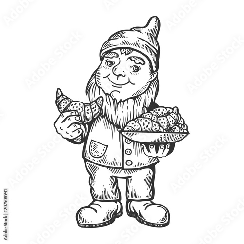 Fototapeta Gnome with croissant engraving vector illustration