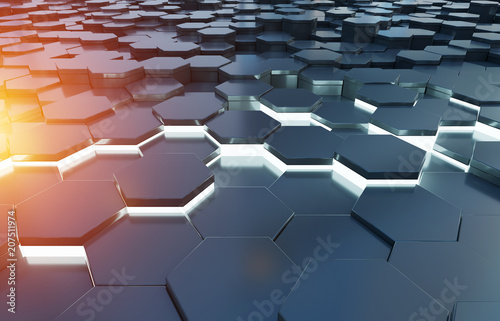 Sticker Black blue and orange hexagons background pattern 3D rendering