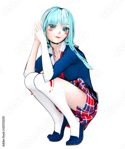 3D sexy anime doll japanese anime schoolgirl big blue eyes and bright makeup. Skirt cage. Cartoon, comics, sketch, drawing, manga illustration. Conceptual fashion art. Seductive candid pose. - 207512315