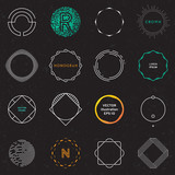 Set of badges and labels elements. Modern geometric design. Circles, Logos and monograms. Vector illustration, EPS 10 - 207512780