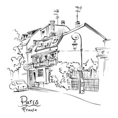 Vector black and white hand drawing. Paris street with traditional houses and lanterns, Paris, France.