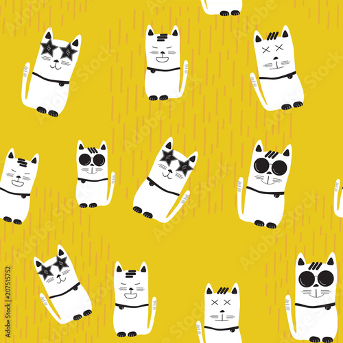 funny white cats with different characters on yellow background, seamless pattern background