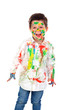 Leinwanddruck Bild - Funny boy with hands and face full of paint