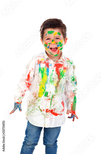 Leinwanddruck Bild Funny boy with hands and face full of paint