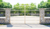 Chrome fence gate. Chromium Stainless steel fence on stone wall - 207516988