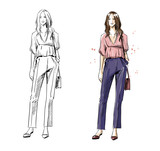 street look. Casual style, vector fashion illustration. - 207520711