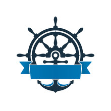 Ship Wheel And Anchor  Label Sticker