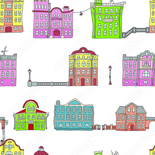 Buildings in the old town. Colorful. Seamless pattern in doodle and cartoon style. Vector - 207523579