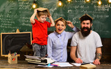 Friendly teacher and adult smiling student in classroom, Education and home concept - stressed student with books, Good teachers help students ask great questions,