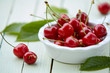 Close up of a bowl of delicious ripe red cherries