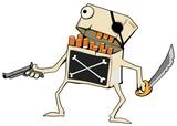 Cigarettes Pirate Cartoon, Color - 207529135