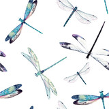 Watercolor dragonfly pattern - 207530388