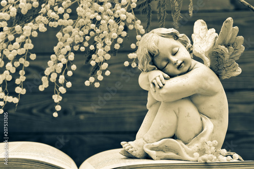 Foto Murales Guardian angel and spring flowers on wooden background