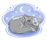 Little sleeping cat, hand drawn design