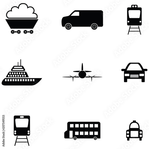 Fridge magnet transport icon set