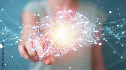 Leinwanddruck Bild Businesswoman using digital x-ray human brain interface 3D rendering
