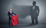 Businessman standing with red cloth on his hand and his shadow on the background  - 207552339