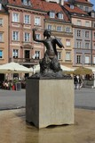 Statue of a Mermaid (Syrenka Warszawska), the symbol of Warsaw on the Old Town Square in Warsaw, Poland