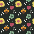 Seamless pattern with cute florals - 207555152