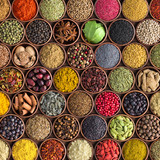 Colorful spices and herbs background. large set of seasonings in cups, top view - 207557993