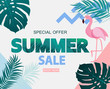 Abstract Tropical Summer Sale Background with Flamingo and Leaves. Vector Illustration