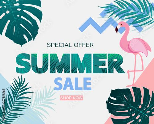 Abstrakcjonistyczny Tropikalny lato sprzedaży tło z flamingiem i liśćmi. Ilustracja wektorowa