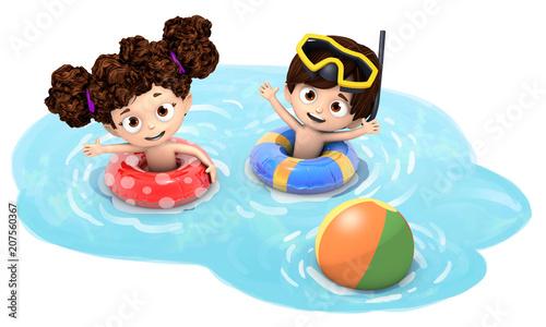 niños con flotador y pelota en el agua - 207560367