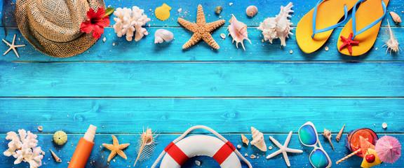Beach Accessories On Blue Plank - Summer Holiday Banner  © Romolo Tavani