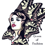 Fashion vector  illustration, portrait of young butterfly woman with beautiful lips and eyes - 207568517