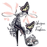 Fashion vector illustration with stylish female shoe decorated by butterflies - 207568759