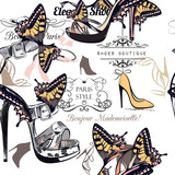 Fashion vector pattern with stylish female shoes decorated by butterflies - 207569104