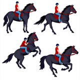 Set of isolated figures of riders - 207569700