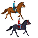 Isolated figure of a rider on a trotting horse - 207569770