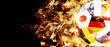 Leinwanddruck Bild - Fussball im Feuerinferno