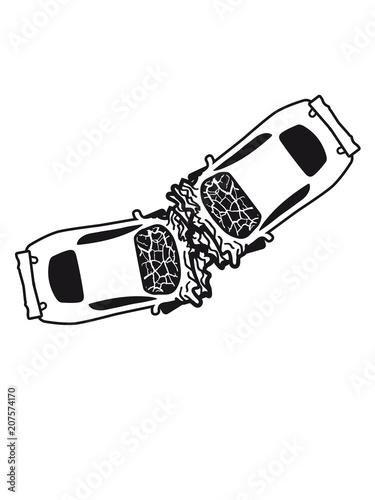 2 autos unfall crash totalschaden zerquetscht dellen kaputt sportauto auto raser schnell fahren rennauto flitzer gas geben fahrer tuning design cool clipart