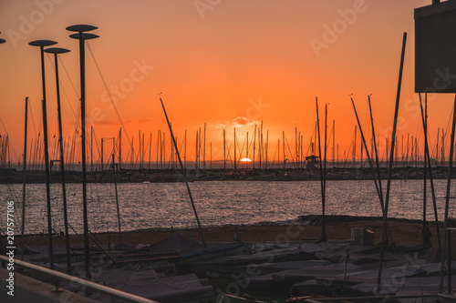 Fotobehang Oranje eclat Sunset over water behind boats and yachts at marina