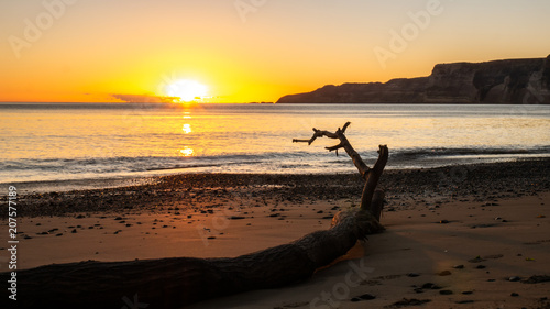 Beautiful beach sunrise shot during coastal hike to Cape Kidnappers located in Hawke´s bay, North Island area of New Zealand