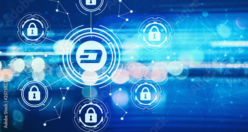 Leinwanddruck Bild Dash cryptocurrency security theme with blurred abstract lights at night