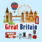 Welcome to England. Collection of symbolic elements. Template travel background. Travel to Great Britain. Traditions and culture - 207588918